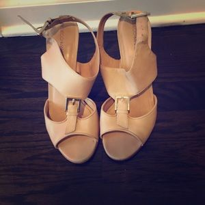 Rebecca Minkoff nude sandals w/ gold buckles